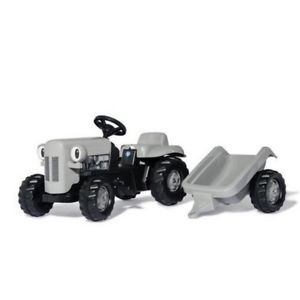 Rolly Kid Little Grey Fergie and Trailer Toy Ride On Pedal Tractor